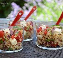 Recette - Salade de quinoa et boulgour aux baies de goji, feta, oignon rouge et citron - Proposée par 750 grammes