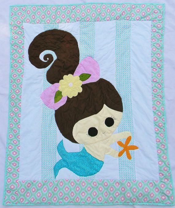 Mermaid  Baby girl crib quilt  Blanket or by createdbymammy