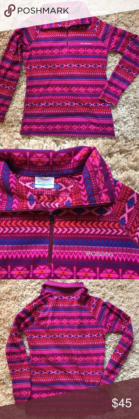 Like  Columbia Half Zip, Size MED + Aztec-like pattern  + 100% polyester  + Great for fall  + Don't forget to bundle!   ⭐️All items are steamed cleaned and shipped within 48 hours of your purchase.   ⭐️If you would like any additional photos or have any questions please let me know.  ⭐️Sorry, no trades. But will listen to ALL fair offers. Thanks for shopping! Columbia Sweaters