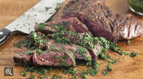 Grilled Hanger Steak with Chimichurri Sauce Recipe | Tasting Table