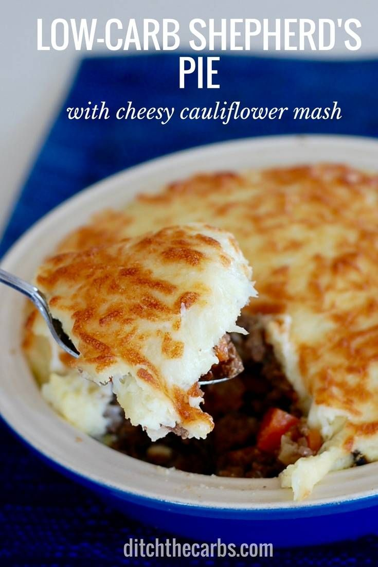 Low-carb shepherd's pie with a cheesy cauliflower crust is an absolute low-carb family staple. | ditchthecarbs.com via @ditchthecarbs