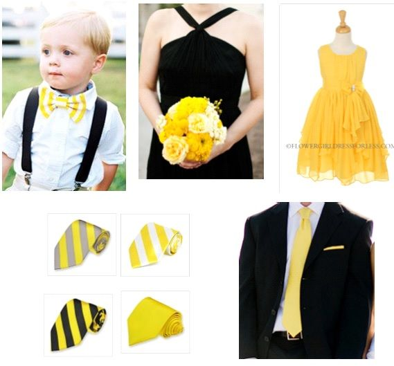 Black, white and yellow wedding theme. Yellow flower girl dresses, yellow  bow ties