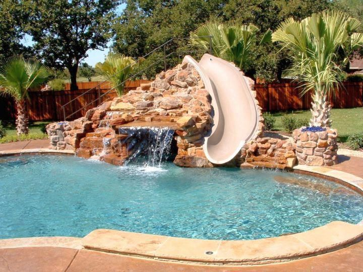Waterfalls For Pools Inground With Slide Attached Backyard Pool Swimming Pool Slides Swimming Pool House