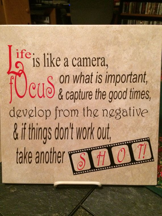 Life is Like a Camera...Vinyl Decorated 11x11 Tile (Choose Your Vinyl Colors) on Etsy, $12.00