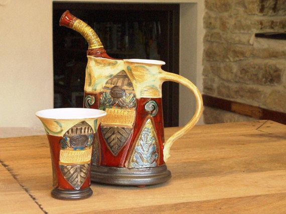 Wheel Thrown Pottery Wine Pitcher Ceramic by DankoHandmade on Etsy