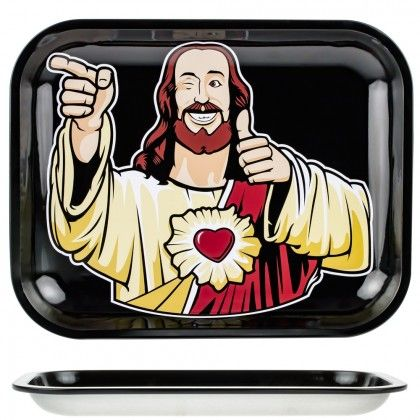 Jay and Silent Bob Rolling Tray | Large | Buddy Christ - http://honeycombbong.com/jay-and-silent-bob-rolling-tray-large-buddy-christ/
