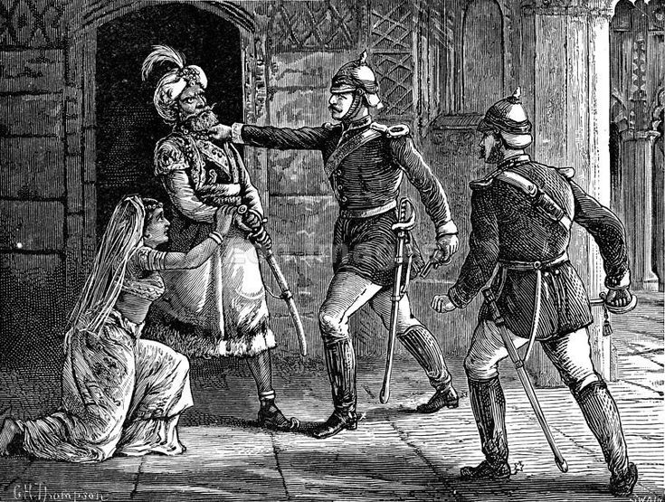 "Bahadur Shah II seized by William Hodson during Indian Mutiny of 1857-1858    Original caption: ""Hodson Seizing the King of Delhi."" Refers to British officer William Hodson, known for his brutality during the Indian Mutiny (AKA Sepoy Rebellion) of 1857-1858. The ""King of Delhi"" was Bahadur Shah II, the last of the Mughal emperors, and he actually reigned over most of India. Image published: 1901."