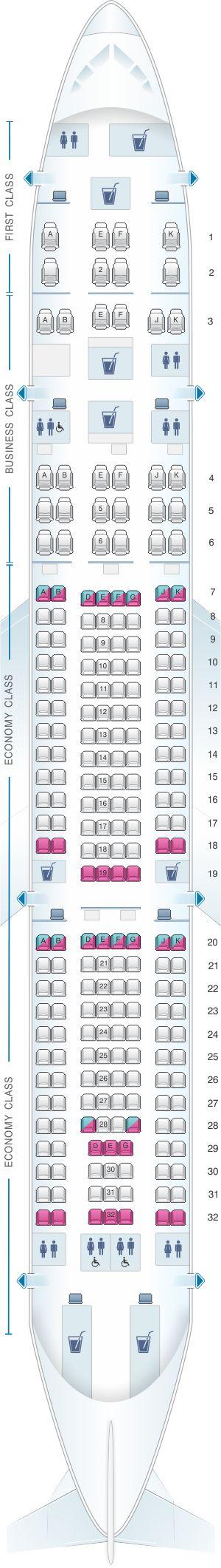 Seat Map Qatar Airways Airbus A330 200 232pax