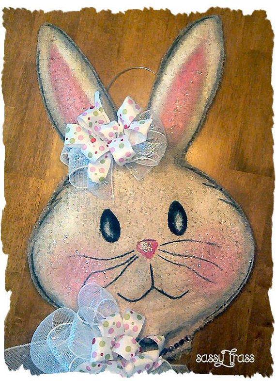 Sassy Easter Spring Rabbit Burlap Door Hanger on Etsy, $40.00