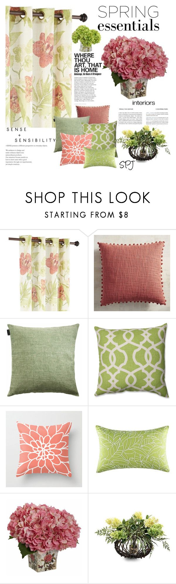 """""""Spring Essentials"""" by s-p-j ❤ liked on Polyvore featuring interior, interiors, interior design, home, home decor, interior decorating, Pier 1 Imports, LINUM, Pillow Perfect and John-Richard"""