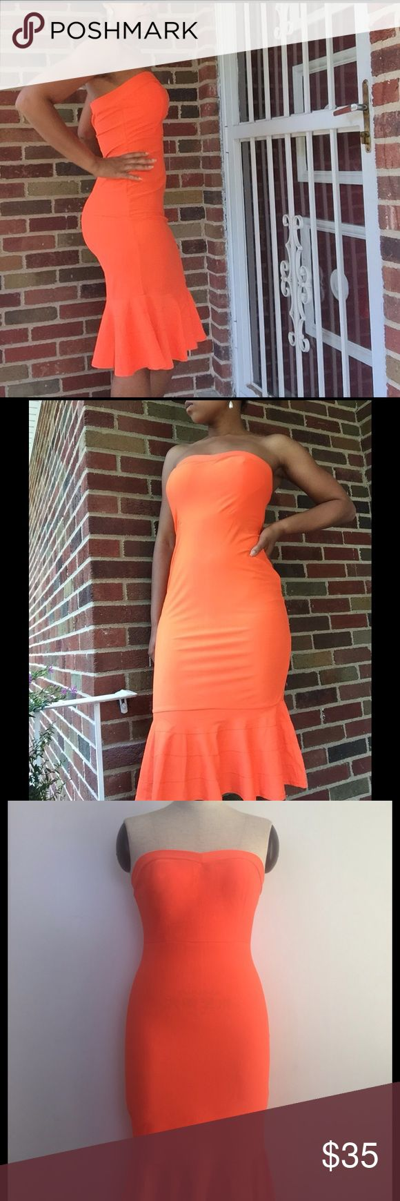 Bright Orange Midi Mermaid/Trumpet Dress This brightly colored number is perfect for the summertime! Slinky orange midi dress featuring a flirty trumpet hemline. Breast area is lightly padded. Dresses Midi