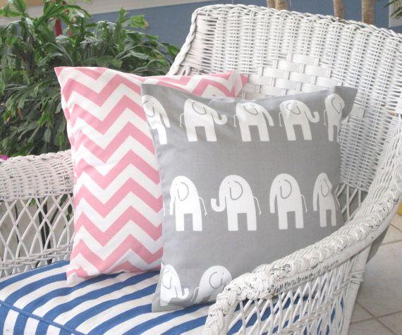 """Oreiller, oreiller rose, Baby, Baby Girl, pépinière, coussins/couverture, coussin, coussins décoratifs, oreiller éléphant gris, Set de 2 -18 """"x 18"""""""