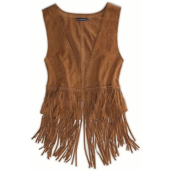 AE Fringed Suede Vest ($25) ❤ liked on Polyvore featuring outerwear, vests, brown, long waistcoat, brown suede vest, suede fringe vest, suede vest and american eagle outfitters