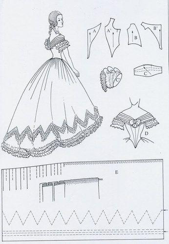 Détails d'une robe de bal -et patron Victoria et Elizabeth                                                                                                                                                                                 Plus