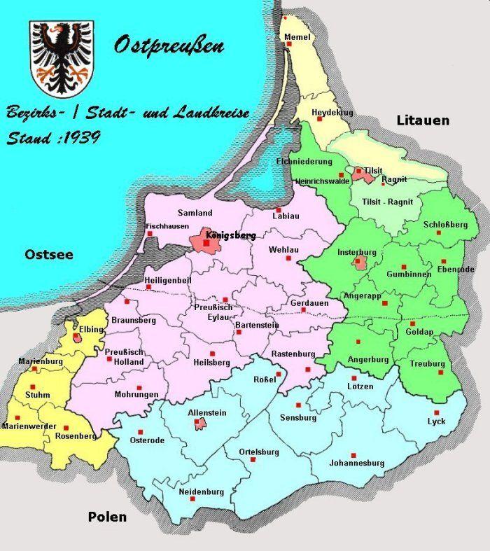 Ostpreußen gliederte sich seit 1920 in die Regierungsbezirke Westpreußen (Marienwerder) , Allenstein, Gumbinnen und Königsberg.  http://www.heinrich-w-f-schmidt.de/Wissenswertes/Preuszen.htm