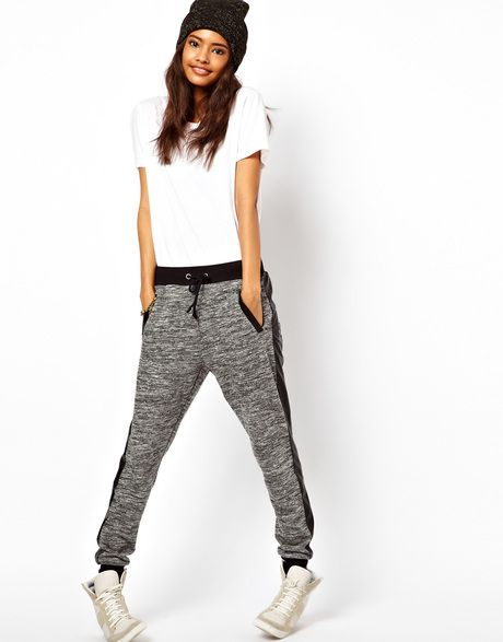 Asos Gray Track Pant with Pu Pocket