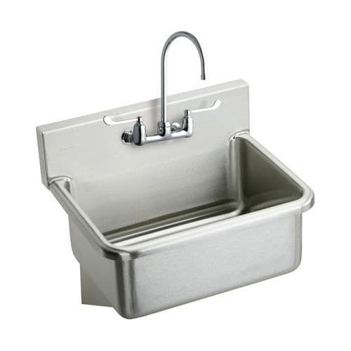 """Elkay EWS3120W6C 31"""" Wall Mount 14 Gauge Stainless Steel (Silver) Scrub Sink with 6"""" Wrist Blade Handles, Commercial Faucet and Drain"""