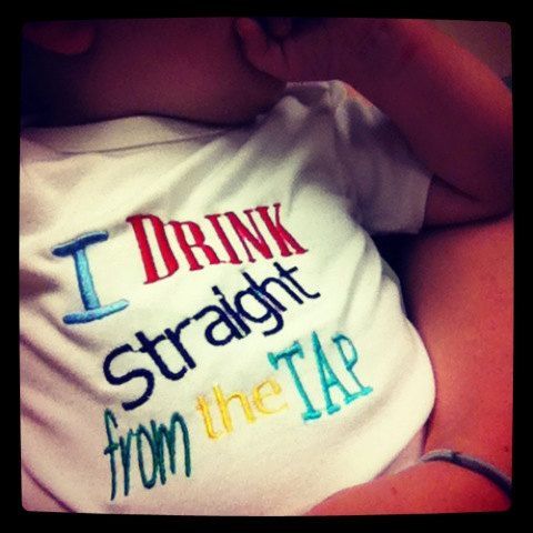 OMG! LOL! I Drink Straight From the Tap Breastfeeding Onesie, Breastfeeding Awareness