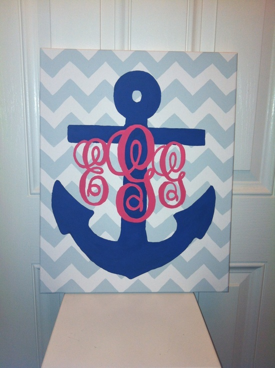 Anchor monogrammed chevron painting @Kellie Harden. Maybe I'll just buy this for the nook wall?