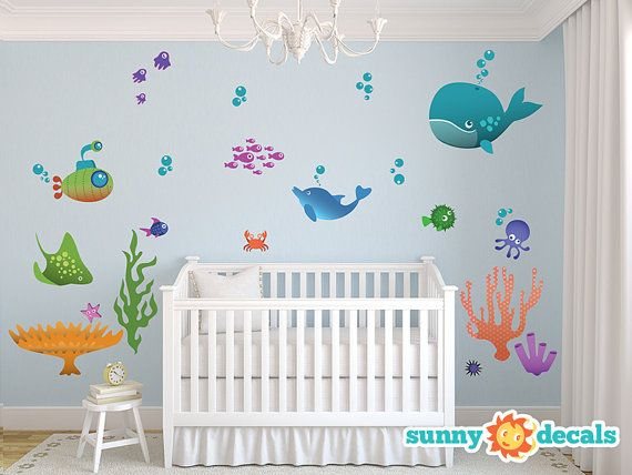 jumbo underwater ocean fabric wall decals with fish by sunnydecals
