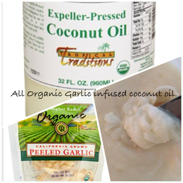 All Organic Coconut  Garlic Oil.  Use as a spread or to cook with. I used extra garlic, eight cloves to one cup of coconut oil.  You can't have enough garlic is what I say.  Make up a batch for your self today. The smell is amazing and the taste is absolutely devine.
