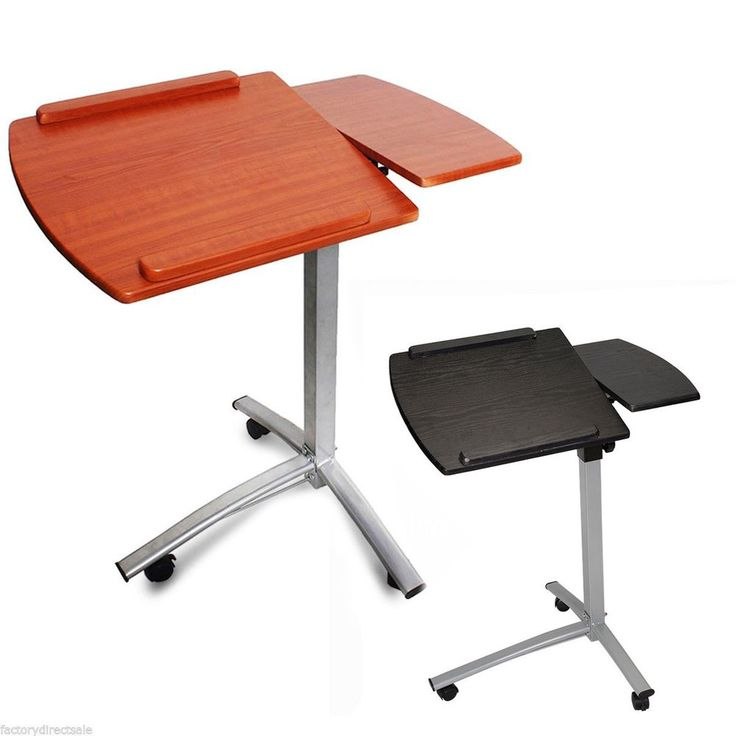 Angle Height Adjustable Rolling Laptop Desk Cart Bed Hospital Table W/ Split-Top