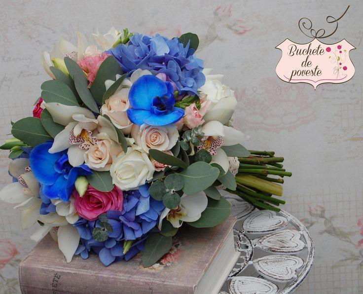 Blue & Vintage Buchet de mireasa realizat din trandafiri, orhidee, hortensie