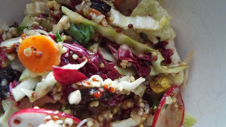 Winter Salad of Quinoa, Radicchio, Cabbage, Tart Cherries and Pistachios with Dijon Balsamic Vinaigrette