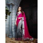darkpink-dark-gray-color-net-designer-heavy-embroidery-work-saree-with-blouse-piece-10040
