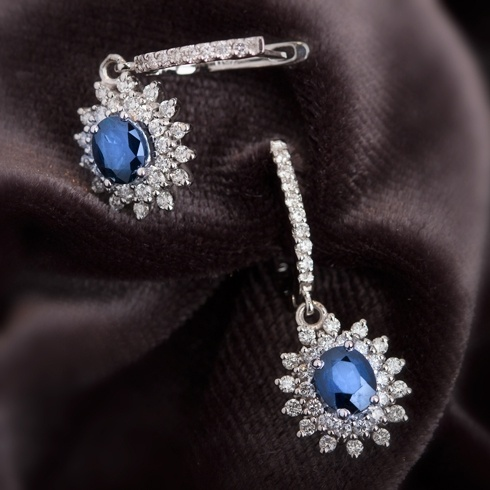 Cercei cu safire si diamante C058