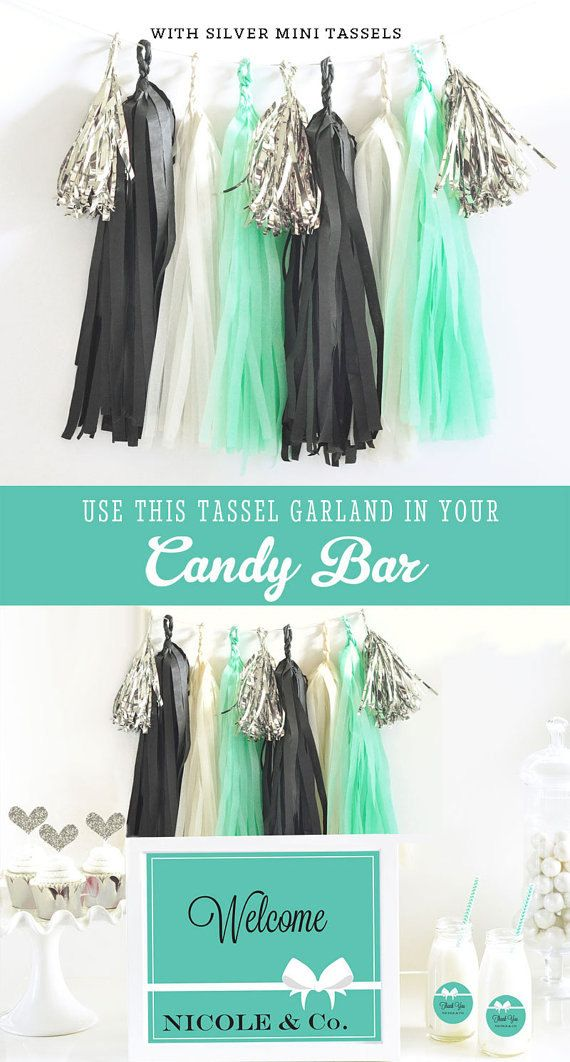 bridal shower invitation ideas craft%0A Items similar to Mint and Black Tassel Garland Banner Bridal Shower  Baby  Shower  Birthday Party DIY Tassel KIT on Etsy