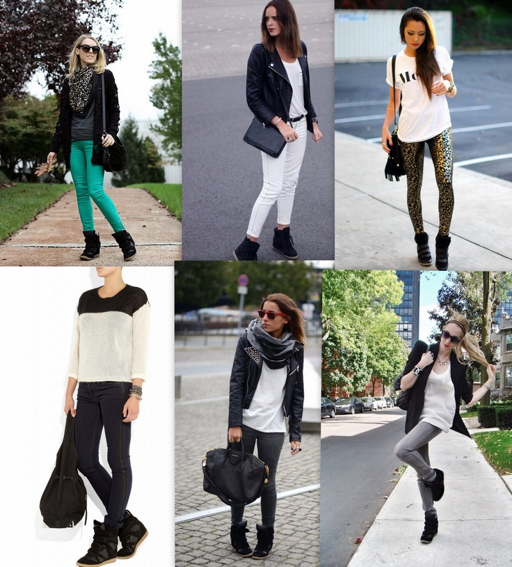 I particularly like the outfit with the black n gold cheetah print pants. #Black Wedge Sneakers