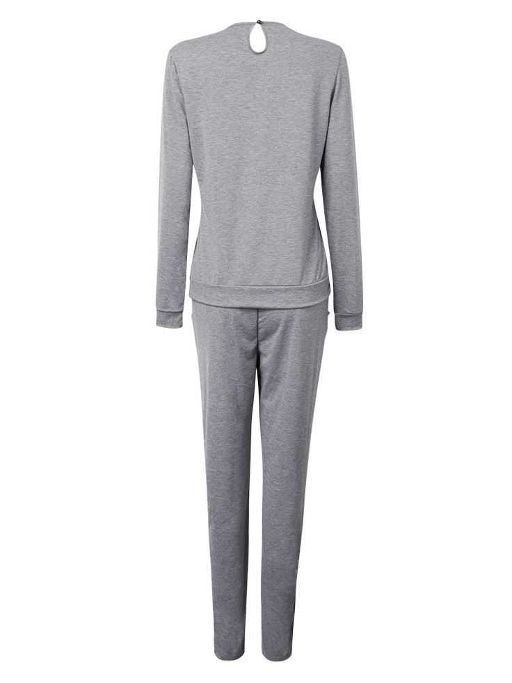 Casual Sport Gray Beaded Stretch Waist Pullover Tracksuit For Women at Banggood