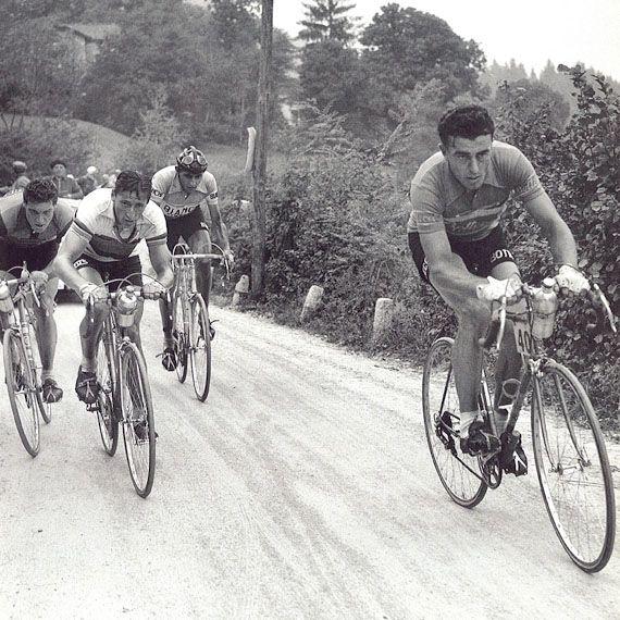 Giro  di Lombardia 1951, 21 ottobre. Milano > Milano. Louison Bobet (1925-1983), Ferdi Kübler (1919-2016) e Fausto Coppi (1919-1960)