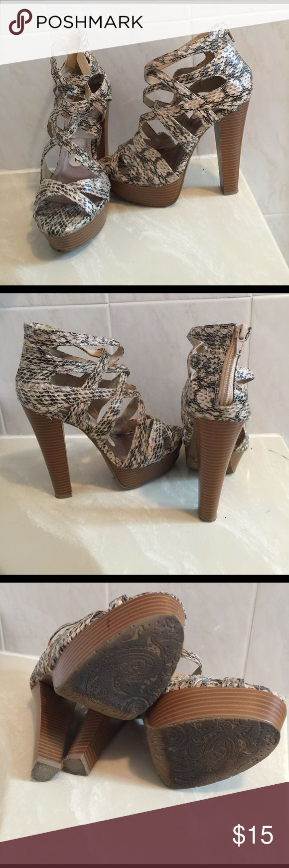 Animal print high heels Heel about 5 1/2 inches high. Front about 1 1/2 inches high. Zipper in the back. Ask questions. No trades Dollhouse Shoes Heels