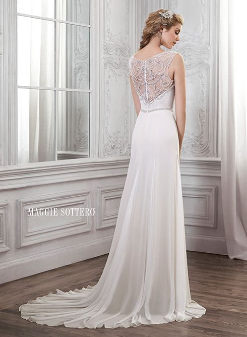 Elegant chiffon sheath wedding dress with illusion  Swarovski crystal neckline and back. Farah by Maggie Sottero.