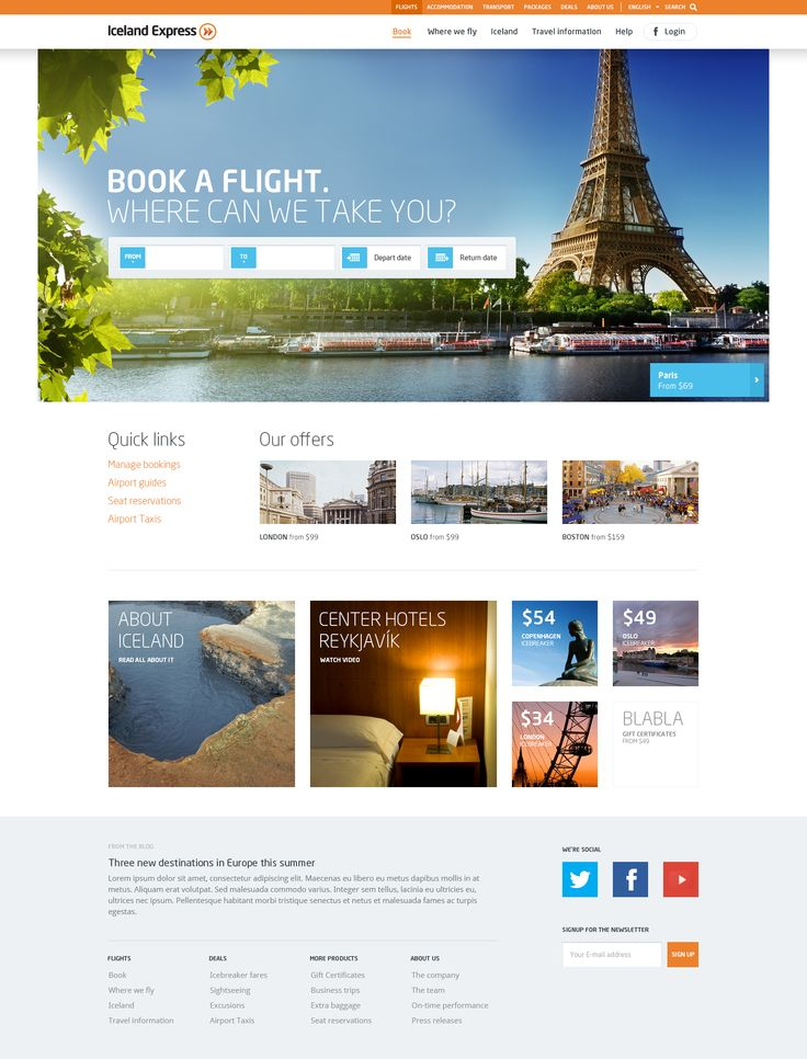 Web Inspiration 2.0 - Iceland Express - great colors and distribution for this landing page, excellent example for a travel agency or a even a hotel web page