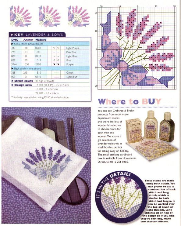 Free small lavender cross stitch pattern #stitching #flower #floral