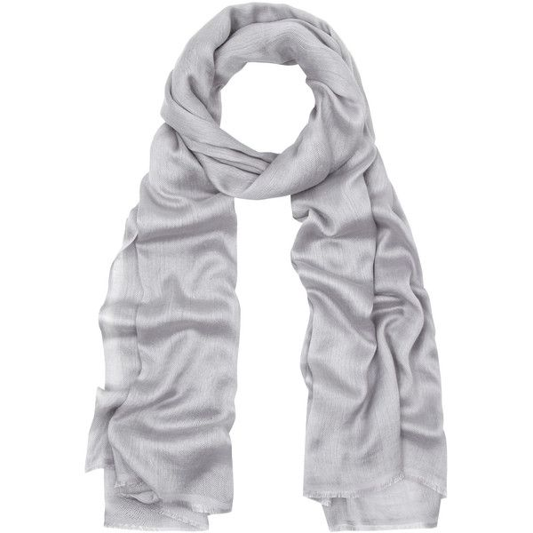 Me and Kashmiere Silver Silk-Blend Scarf (2.880.995 IDR) ❤ liked on Polyvore featuring accessories, scarves, me & kashmiere, silver evening shawl, silver scarves, holiday scarves and silver shawl