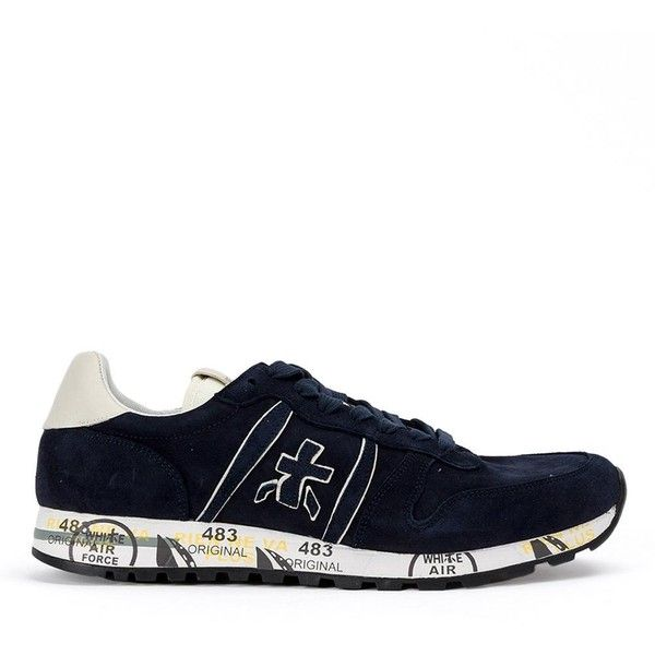 Premiata White Eric Var sneakers ($285) ❤ liked on Polyvore featuring men's fashion, men's shoes, men's sneakers, blue, mens leather shoes, mens blue leather shoes, mens blue sneakers, mens leather sneakers and mens blue shoes
