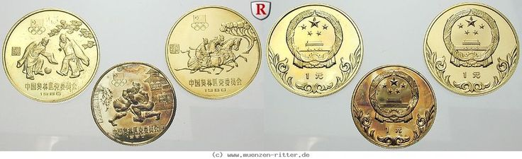 RITTER China, 3x Yuan Olympische Spiele Lake Pacid 1980, Olympisches Komitee, PP #coins