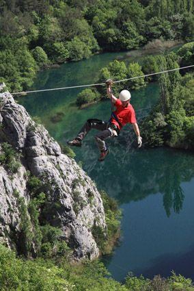 Zipline over Cetina river, Omiš. Photo by Dražen Mimica