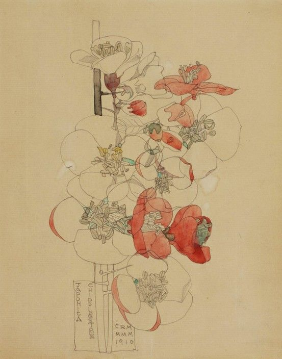 Charles Rennie Mackintosh - love the beautiful line work with just enough color to define the flowers.