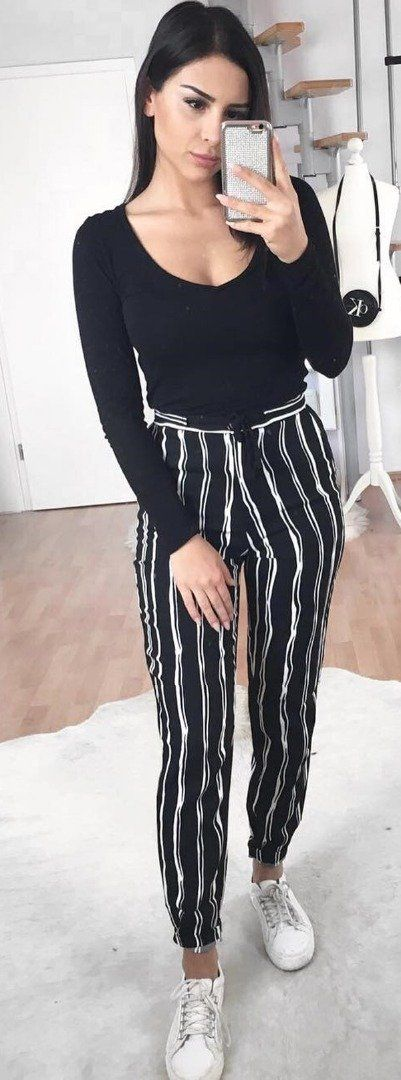 Striped pants + Slinky top | lookbook