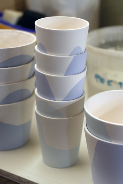 """Unfinished porcelain cups """"white with blue and blue"""" (spring/summer collection 2012 by Tereza Severýnová) www.najs.cz"""