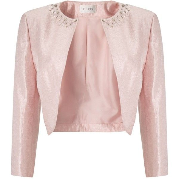 Precis Petite Pink Embellished Bolero ($145) ❤ liked on Polyvore featuring  outerwear, jackets