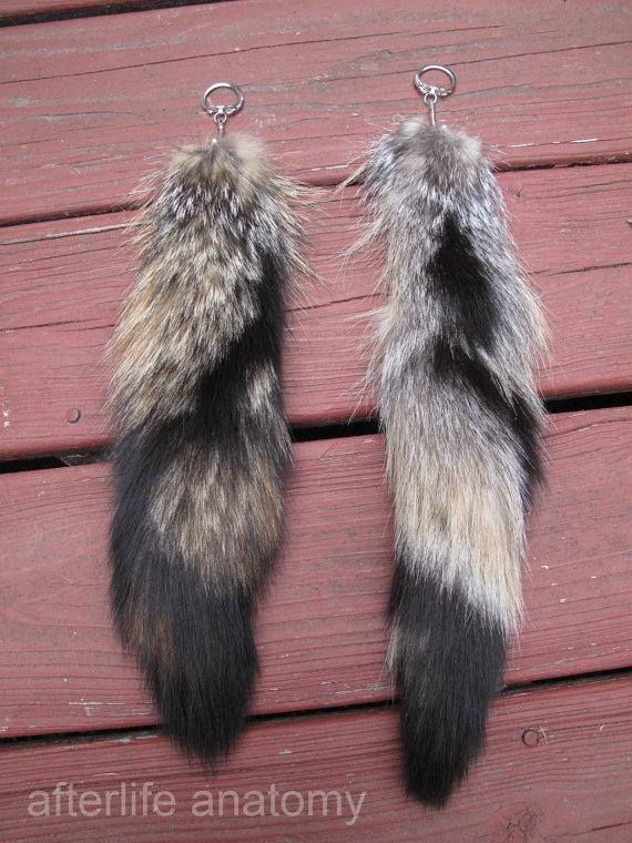 **Grey Fox Tail Keychain Recycled Keyring Totem Animal $15.00, via Etsy.