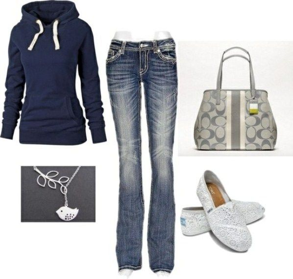 Navy and silver casual outfit for fall :) white shoes? I'm so there!