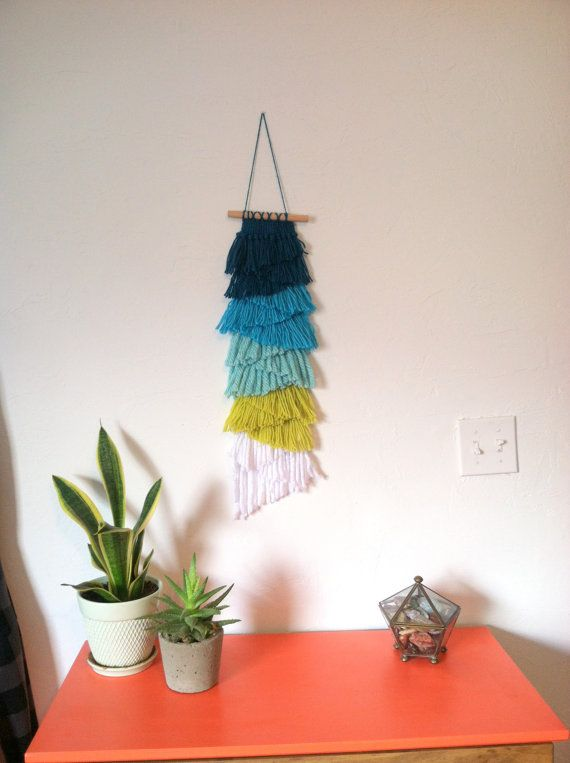 Hand Woven Wall Hanging/ Weaving Wall Art Fringe with Blue Ombre