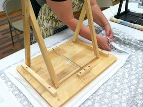 Diary of a Quilter - a quilt blog - making a portable ironing board out of a wooden TV tray